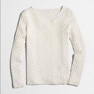 JCrew Textured-knit scoopneck sweater Ivory S